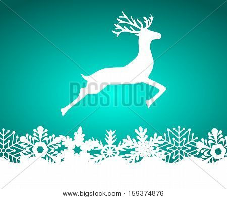 Reindeer on blue background with snowflakes, vector illustration