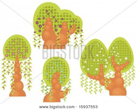 Vector willowtype tree designs. Check my portfolio for more of this series as well as thousands of other great vector items.