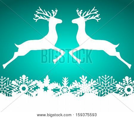 Two reindeer jump to each other on a blue background with snowflakes, vector illustration