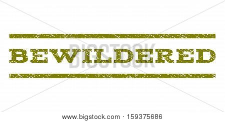 Bewildered watermark stamp. Text tag between horizontal parallel lines with grunge design style. Rubber seal olive stamp with unclean texture. Vector ink imprint on a white background.