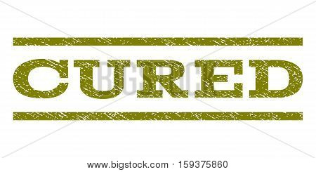 Cured watermark stamp. Text caption between horizontal parallel lines with grunge design style. Rubber seal olive stamp with scratched texture. Vector ink imprint on a white background.