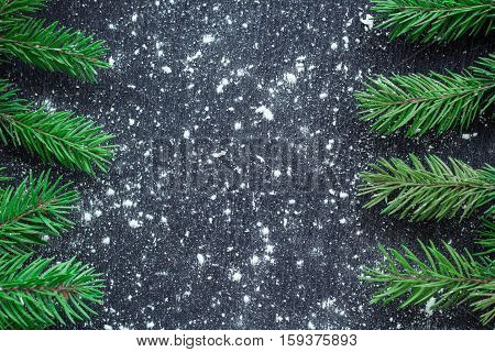 Xmas Tree Branches On Winter Snowflakes Black Space Background