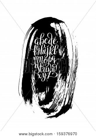 black and white hand lettering alphabet design on brush strokes pattern, handwritten brush script modern calligraphy cursive font vector illustration