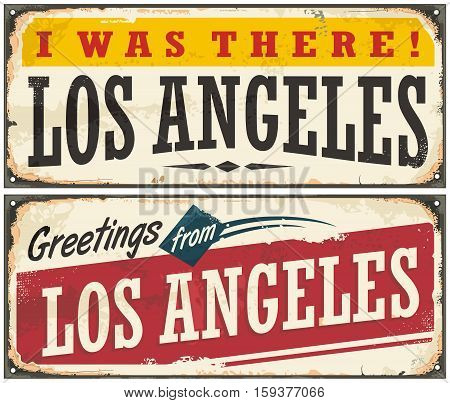 Los Angeles retro travel sign or postcard template. Greetings from Los Angeles USA. Vector illustration.