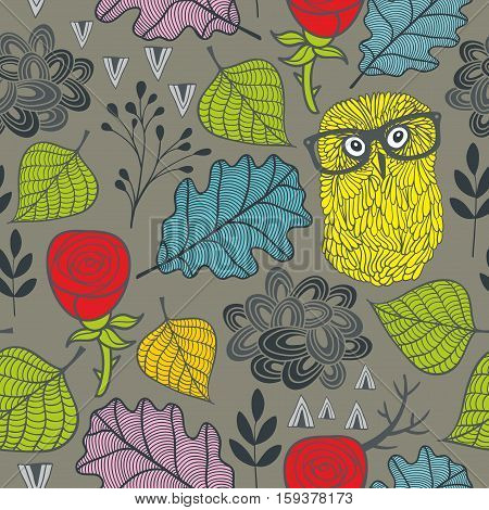 Endless pattern with autumn plants, red roses and owls in eyeglasses. Vector seamless background.