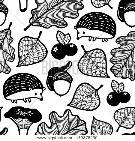 Endless pattern for coloring. Vector illustration of cute hedgehog in autumn forest.