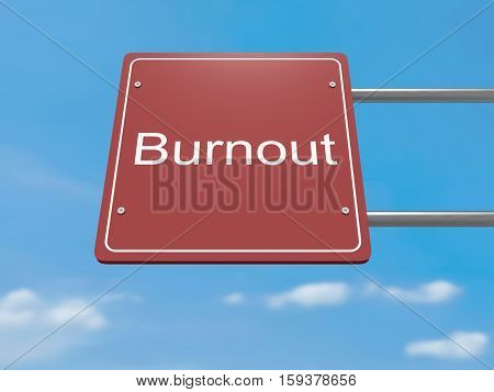 Red Road Sign Burnout Against A Cloudy Sky 3d illustration