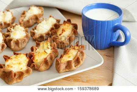 Traditional Karelian Pasties And Cup Of Milk For Breakfast