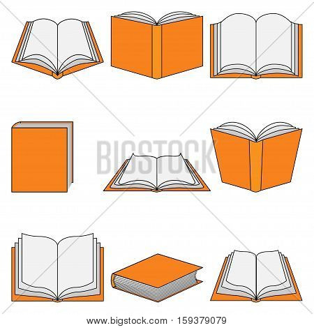 Illustration set of book as a symbol of education.