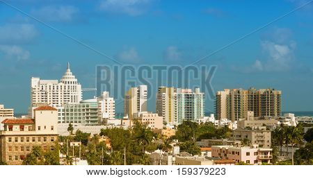 The view on buildings at South Beach Miami Beach Florida USA from the west part of the city.