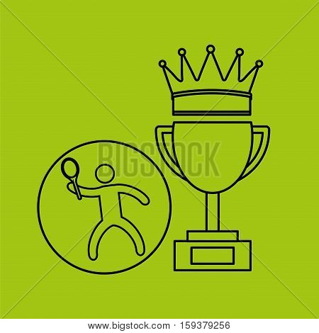 silhouette person tennis winner sport vector illustration eps 10