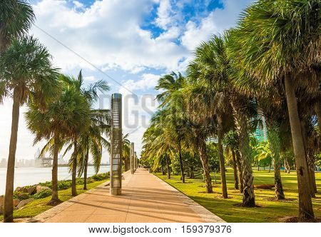 Promenade at South Pointe Park in South Beach Miami Beach Florida USA.