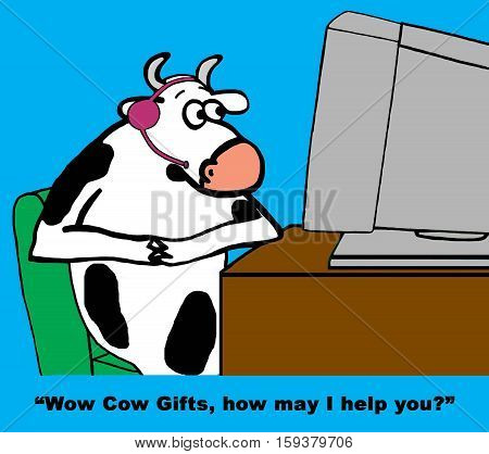 Color cartoon about a friendly customer service rep cow.