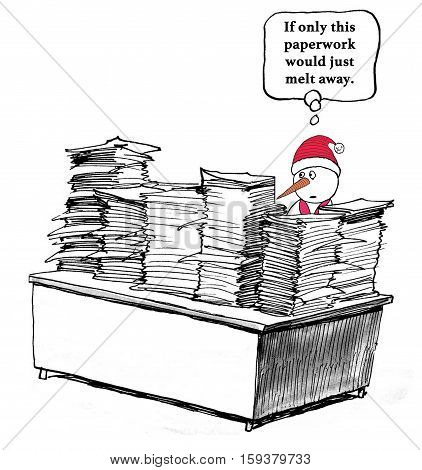 Business cartoon about having too much paperwork.