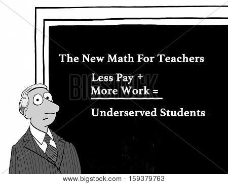 Black and white education illustration about underserved students.