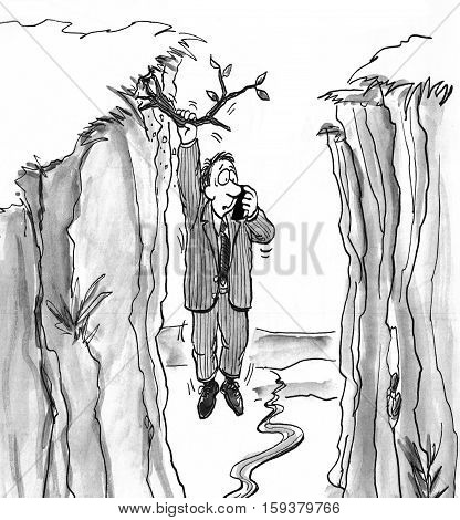 Black and white illustration of a man hanging on to a tree limb and calling for help.