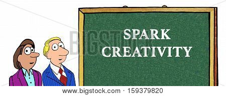 Color illustration of 'spark creativity' and two businesspeople.