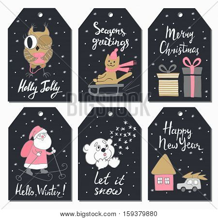 Christmas tags set with cute owl cat sledding gifts Santa Claus teddy bear house and car. Hand drawn style. Vector illustration