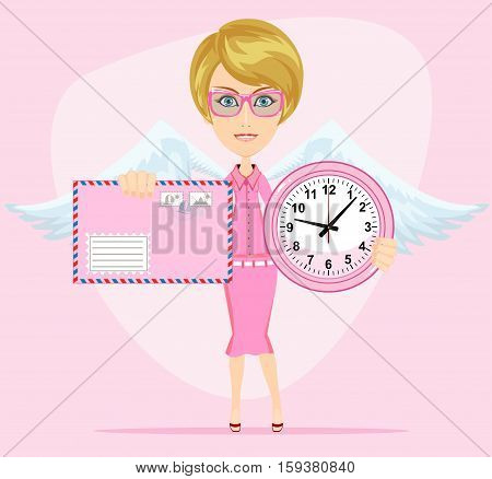 Female angel with beautiful wings holding a pink watchs and envelope with a letter she congratulates you. Time to love and live . Stock Vector illustration