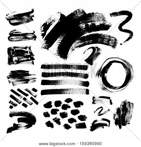 set of 42 black ink hand drawing brushes collection isolated on white background for your design, brush strokes element vector illustration