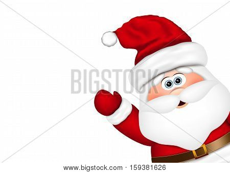 Santa Claus look from the side. Vector illustration.