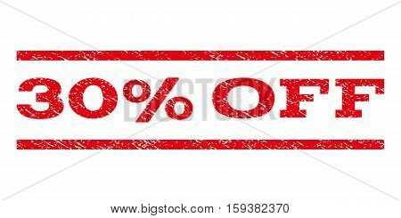 30 Percent Off watermark stamp. Text caption between horizontal parallel lines with grunge design style. Rubber seal red stamp with dirty texture. Vector ink imprint on a white background.