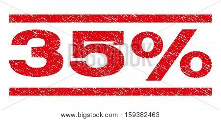 35 Percent watermark stamp. Text tag between horizontal parallel lines with grunge design style. Rubber seal red stamp with dust texture. Vector ink imprint on a white background.