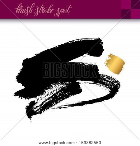 black ink hand drawing brush strokes element isolated on white background for your design, vector illustration