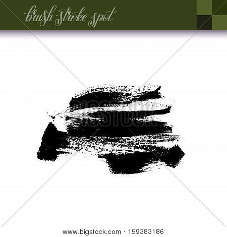 abstract black ink hand drawing brush strokes spot element isolated on white background for your design, vector illustration