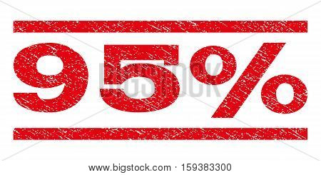 95 Percent watermark stamp. Text tag between horizontal parallel lines with grunge design style. Rubber seal red stamp with unclean texture. Vector ink imprint on a white background.