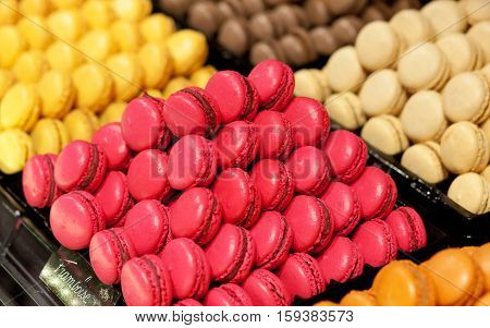 Assortment of multicolored macaroon cookies, traditional French dessert