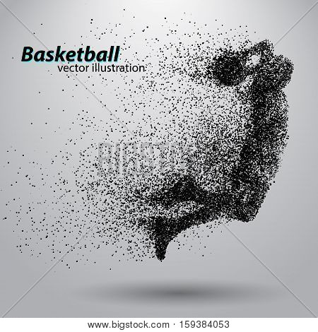 Basketball player from particles. Background and text on a separate layer, color can be changed in one click. Basketball abstract