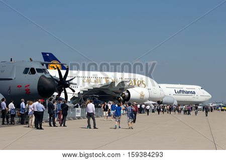 BERLIN GERMANY - MAY 22: Trade visitors at the International Aerospace Exhibition ILA on May 22st 2014 in Berlin Germany.