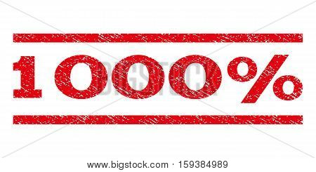 1000 Percent watermark stamp. Text tag between horizontal parallel lines with grunge design style. Rubber seal red stamp with dust texture. Vector ink imprint on a white background.