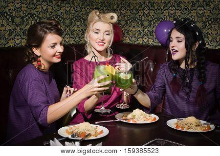 Beautiful Pinup Girls In A Bar