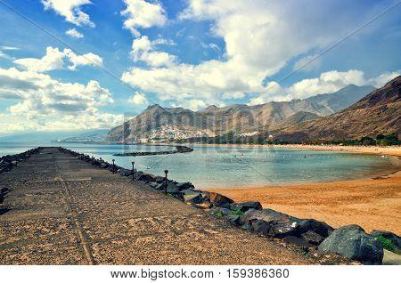 Playa De Las Teresitas Near Santa Cruz De Tenerife. Yellow Sand Beach In The North Of Tenerife.