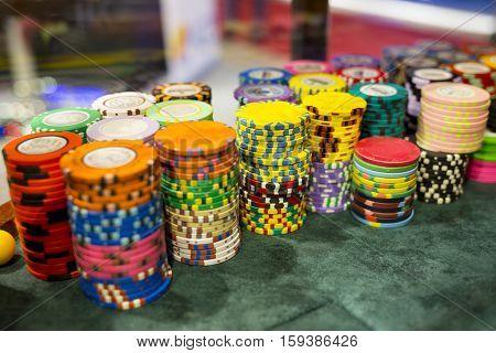 Poker Chips In Casino