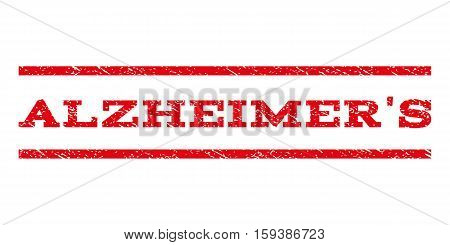 Alzheimer'S watermark stamp. Text caption between horizontal parallel lines with grunge design style. Rubber seal red stamp with dust texture. Vector ink imprint on a white background.