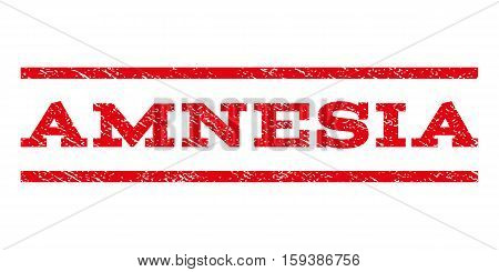 Amnesia watermark stamp. Text caption between horizontal parallel lines with grunge design style. Rubber seal red stamp with unclean texture. Vector ink imprint on a white background.