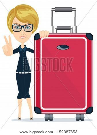 Businesswoman or manager traveling with a suitcase . Stock vector illustration