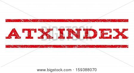Atx Index watermark stamp. Text caption between horizontal parallel lines with grunge design style. Rubber seal red stamp with unclean texture. Vector ink imprint on a white background.