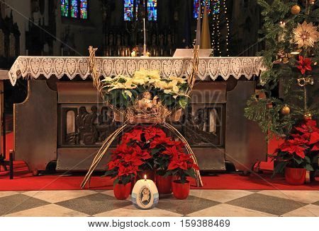 Altar in catholic church with christmas decoration