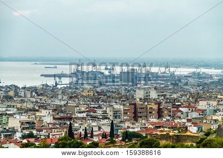 Aerial View of Thessaloniki populated area at center of city from castles to the port and sea