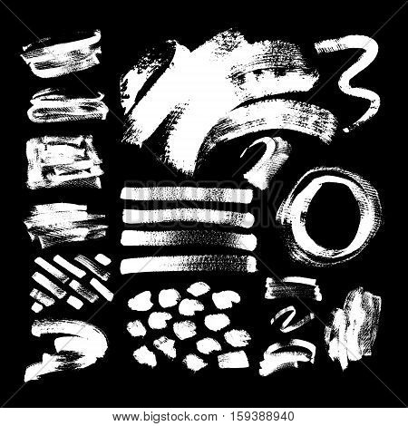 set of 42 white ink hand drawing brushes collection isolated on black background for your design, brush strokes element vector illustration