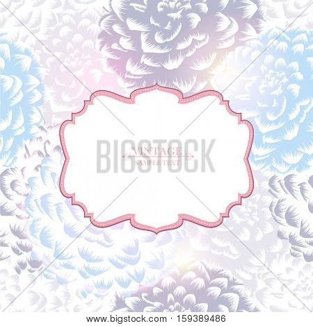 Beautiful abstract seamless hand drawn floral pattern with dahlias flowers. Vintage frame on a floral background. Vector illustration. Element for design.