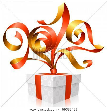 Vector red ribbon and gift box isolated on white background. Symbol of New Year 2017