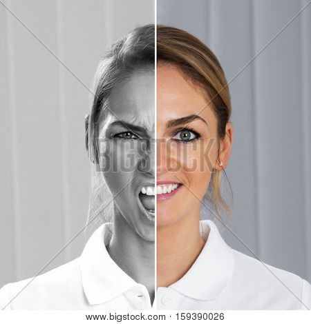 Two Side Face Of Young Woman Showing Happiness And Excitement At One Time