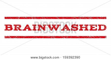 Brainwashed watermark stamp. Text tag between horizontal parallel lines with grunge design style. Rubber seal red stamp with dust texture. Vector ink imprint on a white background.