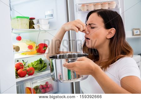 Young Woman Noticed Foul Smell Of Food Near Open Refrigerator