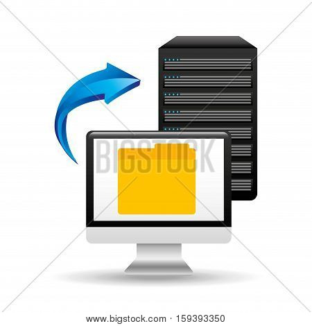 pc data base file folder arrow vector illustration eps 10